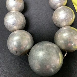 Silver toned bead necklace